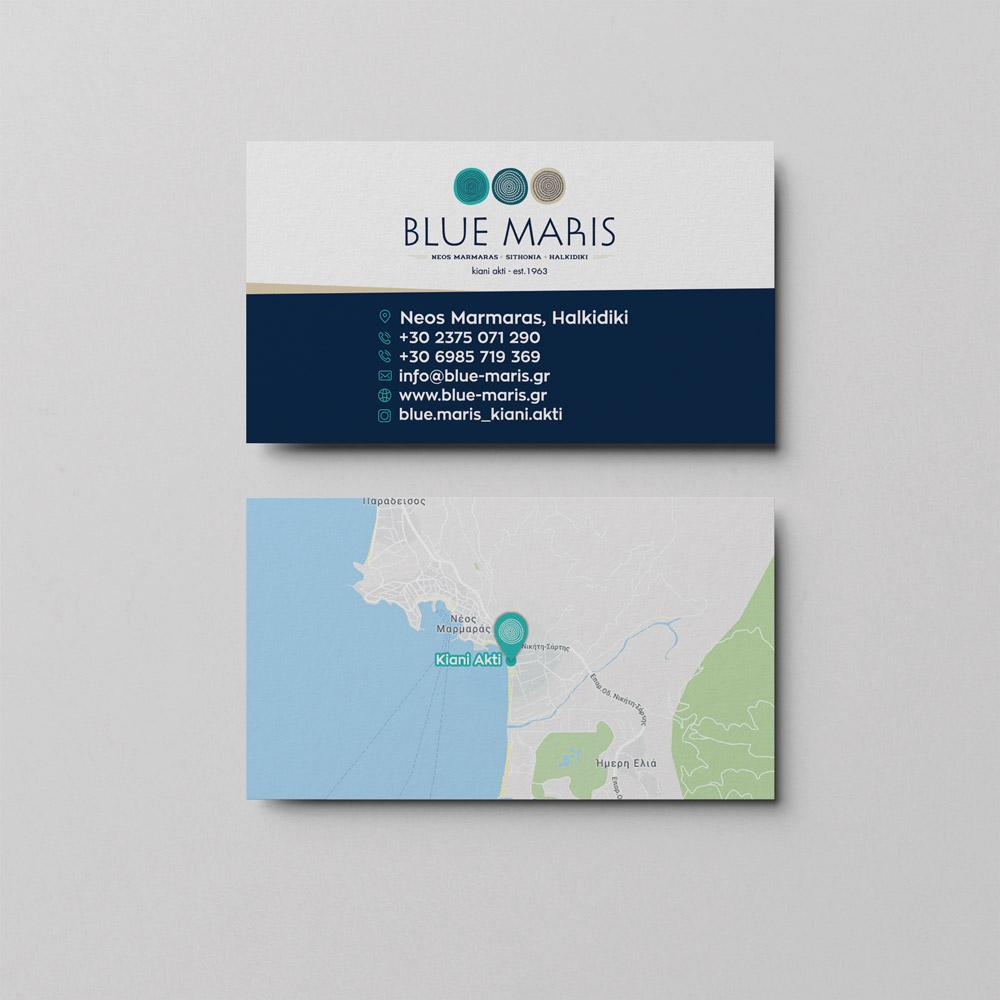 Σχεδιασμός επαγγελματικής κάρτας για τα ενοικιαζόμενα δωμάτια Blue Maris στον Νέο Μαρμαρά.